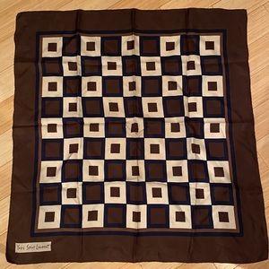 YSL Yves Saint Laurent vintage silk abstract scarf